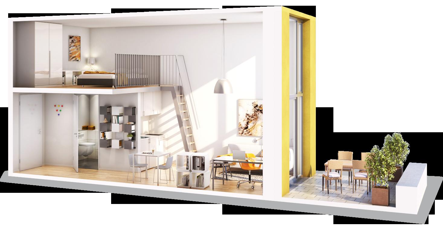 Visualisierung Beispiel eines Apartments mit Galerie in der Studiosus 5 Wohnanlage in Augsburg