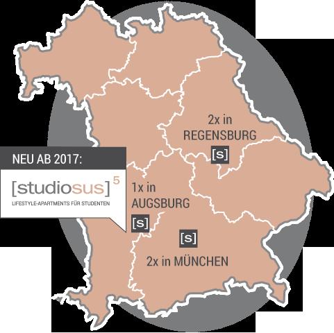 Übersichtskarte der studiosus Standorte in Deutschland: Studentenwohnungen und Apartments in Augsburg (Neubau Anlageobjekt bis 2017), Regensburg und München