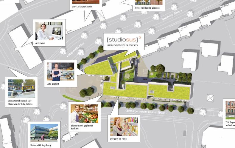 Mikro-Lageplan Textilviertel Augsburg mit Standort der studiosus 5 Wohnanlage mit Lifestyle-Apartments für Studenten