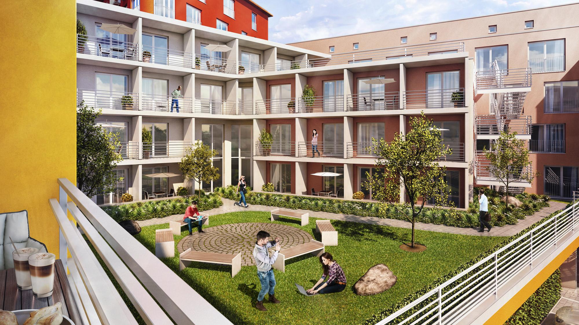 Ansicht Innenhof der studiosus 5 Wohnanlage in Augsburg mit Apartments mit Balkon, Terrasse oder Loggia