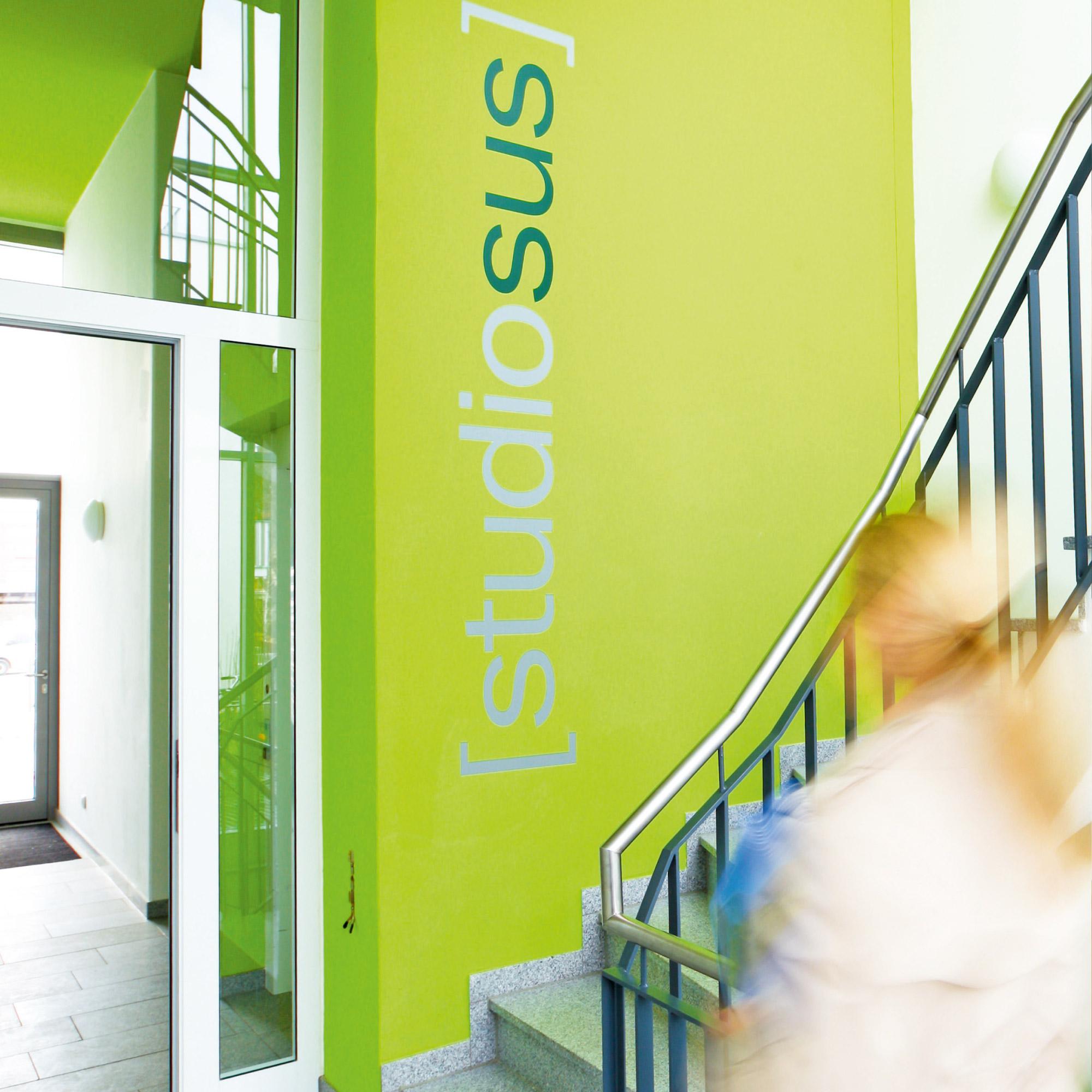 Lebendig gestaltetes Treppenhaus in der studiosus 3 Wohnanlage