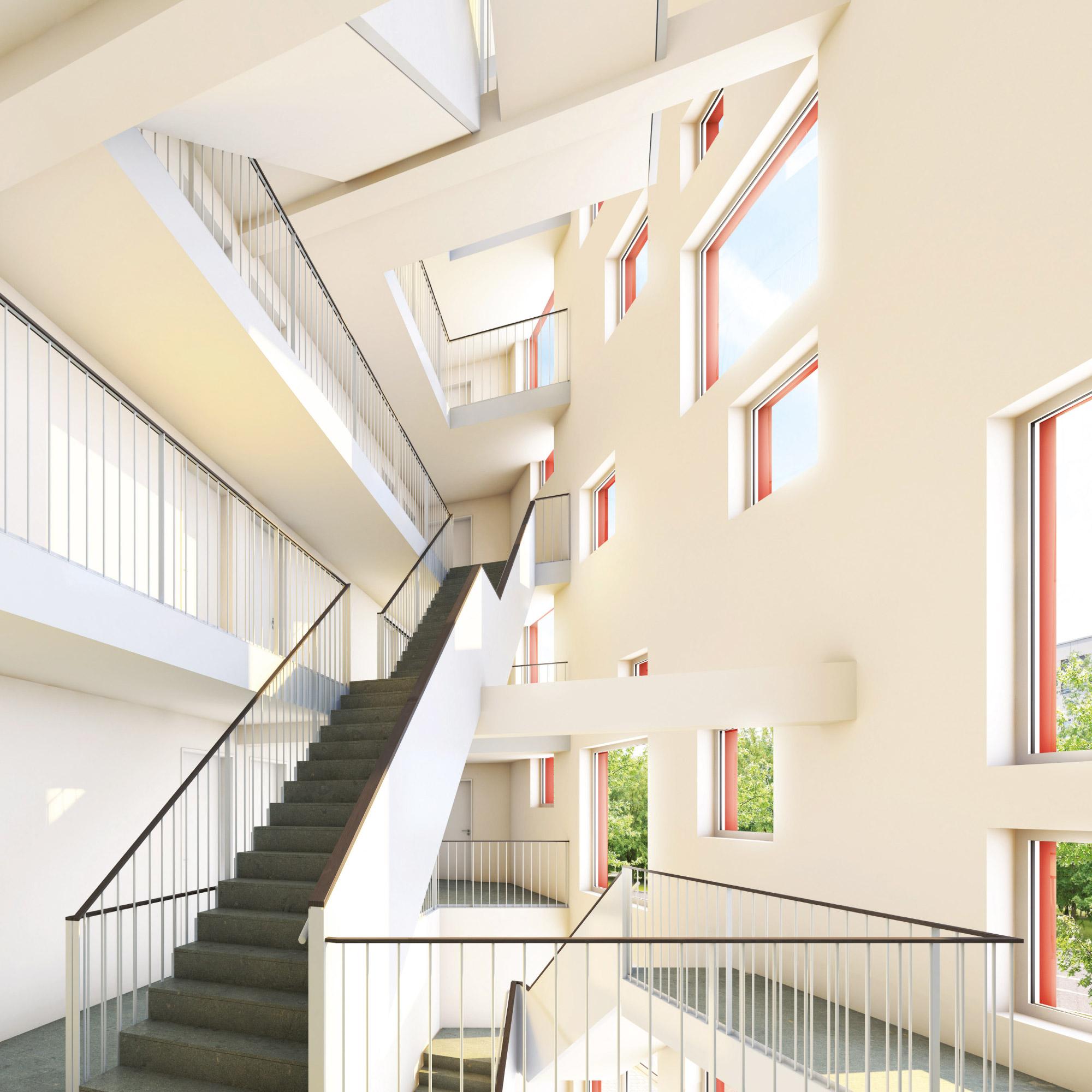 Helles, lichtdurchflutetes Treppenhaus in der Studentenwohnanlage studiosus 5 in Augbsurg
