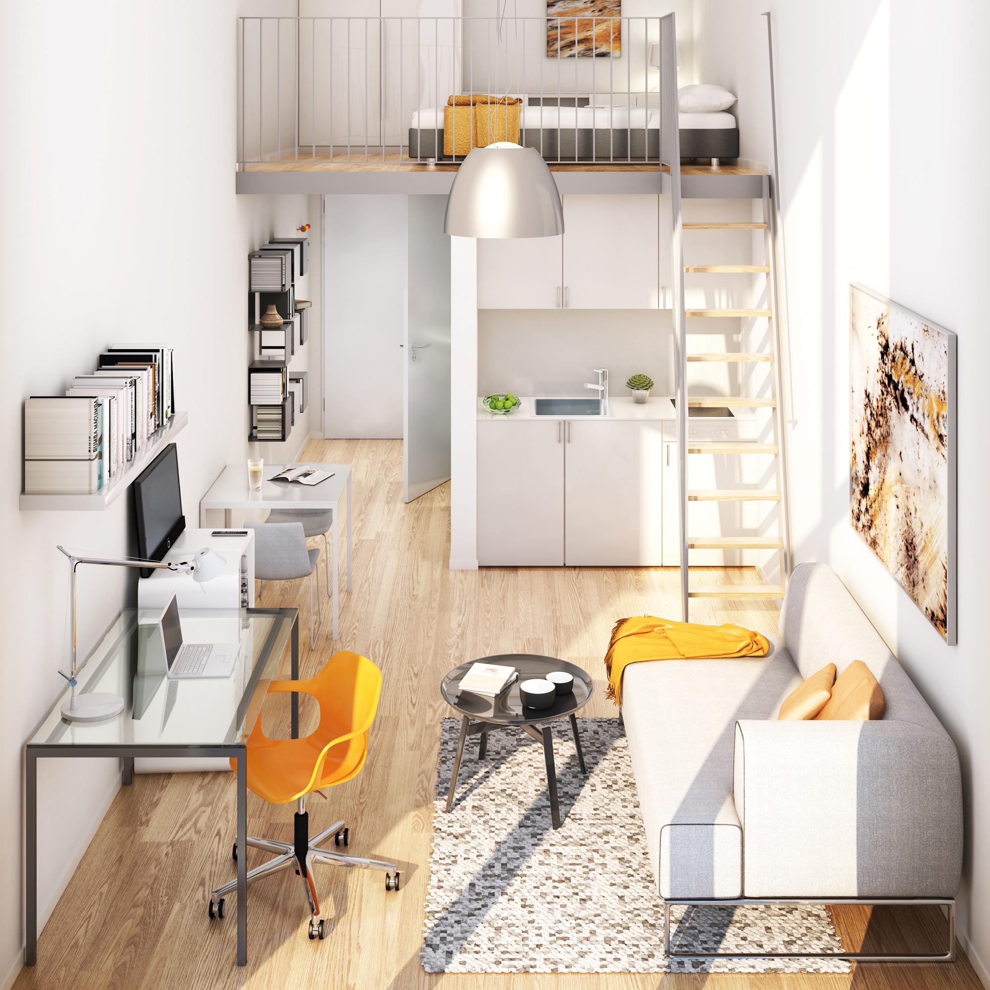 Einrichtungsbeispiel eines Apartments mit Galerie in der studiosus 5 Studentenwohnanlage in Augsburg
