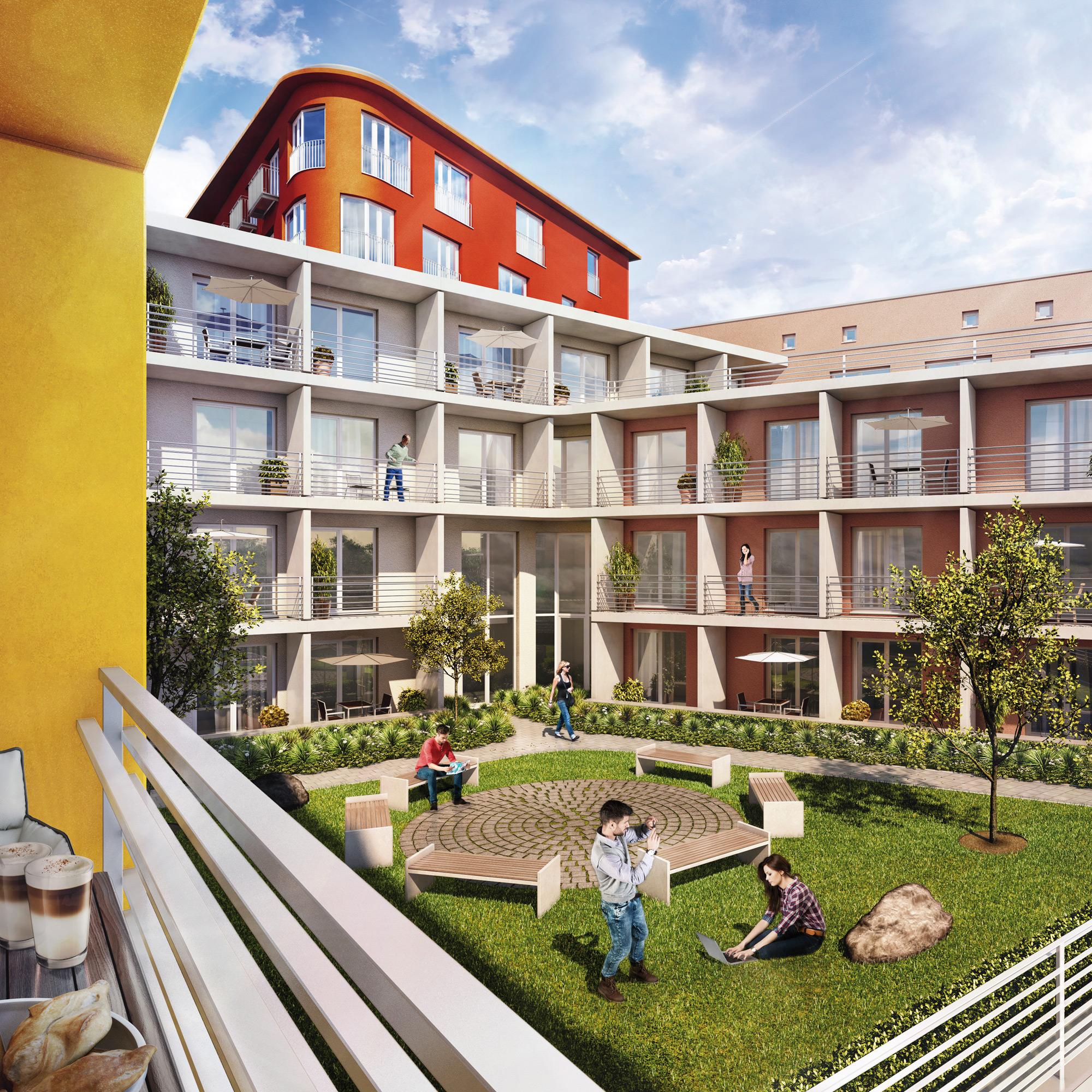Außenansicht der Studentenwohnanlage studiosus 5 in Augsburg mit Apartments mit Balkon oder Terrasse sowie Innenhof mit Hofgarten