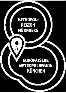 Grafik Standort Augsburg zwischen der Europäischen Metropolregion München und der Metropolregion Nürnberg