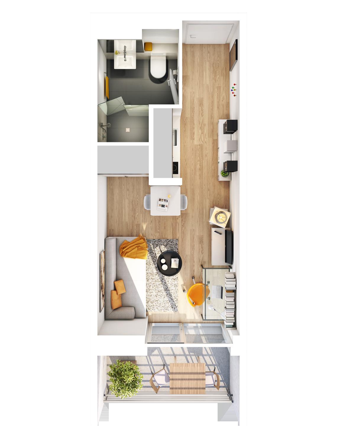 Visualisierung Beispiel 1-Zimmer-Wohnung Typ A mit Badvariante, Küchenzeile, Wohnbereich und Balkon im studiosus 5 Apartmenthaus in Augsburg