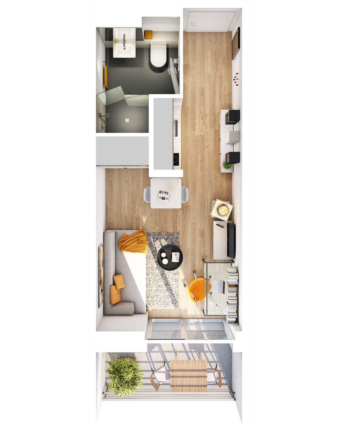 Visualisierung Beispiel 1-Zimmer-Wohnung Typ A mit Bad, Küchenzeile, Wohnbereich und Balkon im studiosus 5 Apartmenthaus in Augsburg