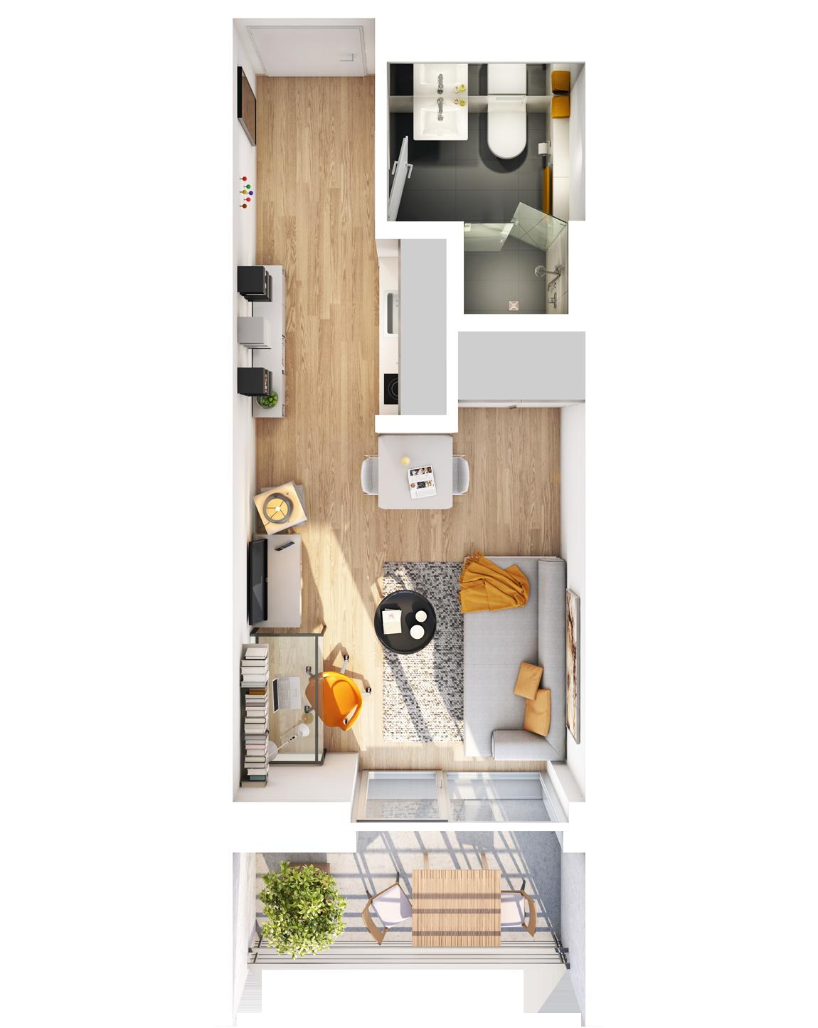 Visualisierung Beispiel 1-Zimmer-Wohnung Typ A mit Bad, Küchenzeile, Wohnbereich und Balkon (spiegelverkehrt) im studiosus 5 Apartmenthaus in Augsburg