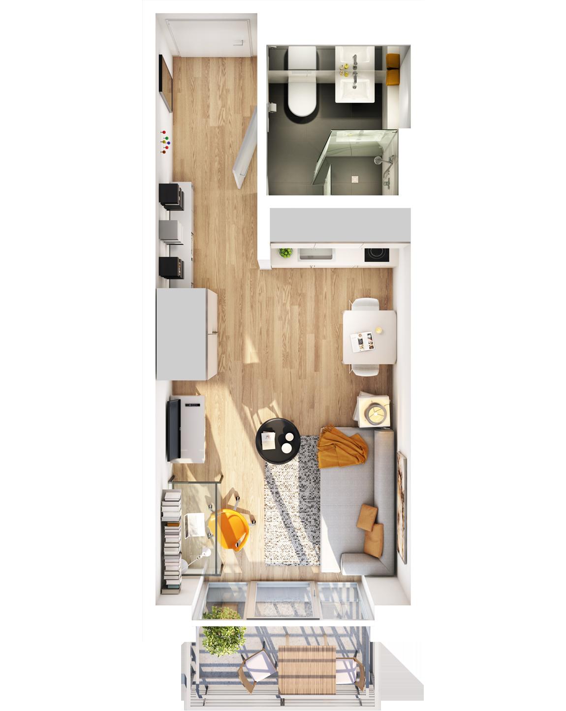 Visualisierung Beispiel 1-Zimmer-Wohnung Typ B mit Badvariante, Küchenzeile, Wohnbereich und Balkon im studiosus 5 Apartmenthaus in Augsburg