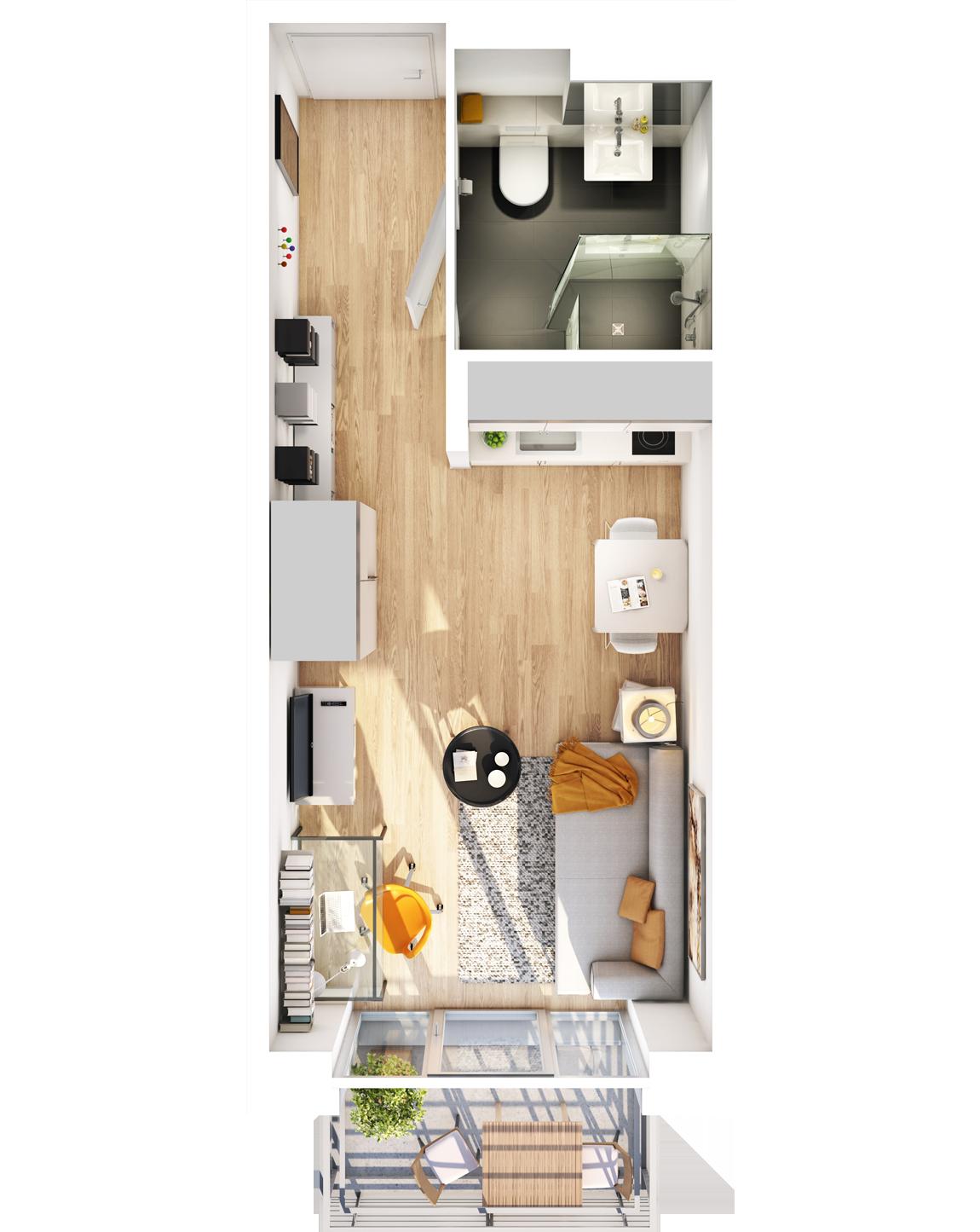 Visualisierung Beispiel 1-Zimmer-Wohnung Typ B mit Bad, integrierter Küche im Wohnbereich und Balkon (spiegelverkehrt) im studiosus 5 Apartmenthaus in Augsburg