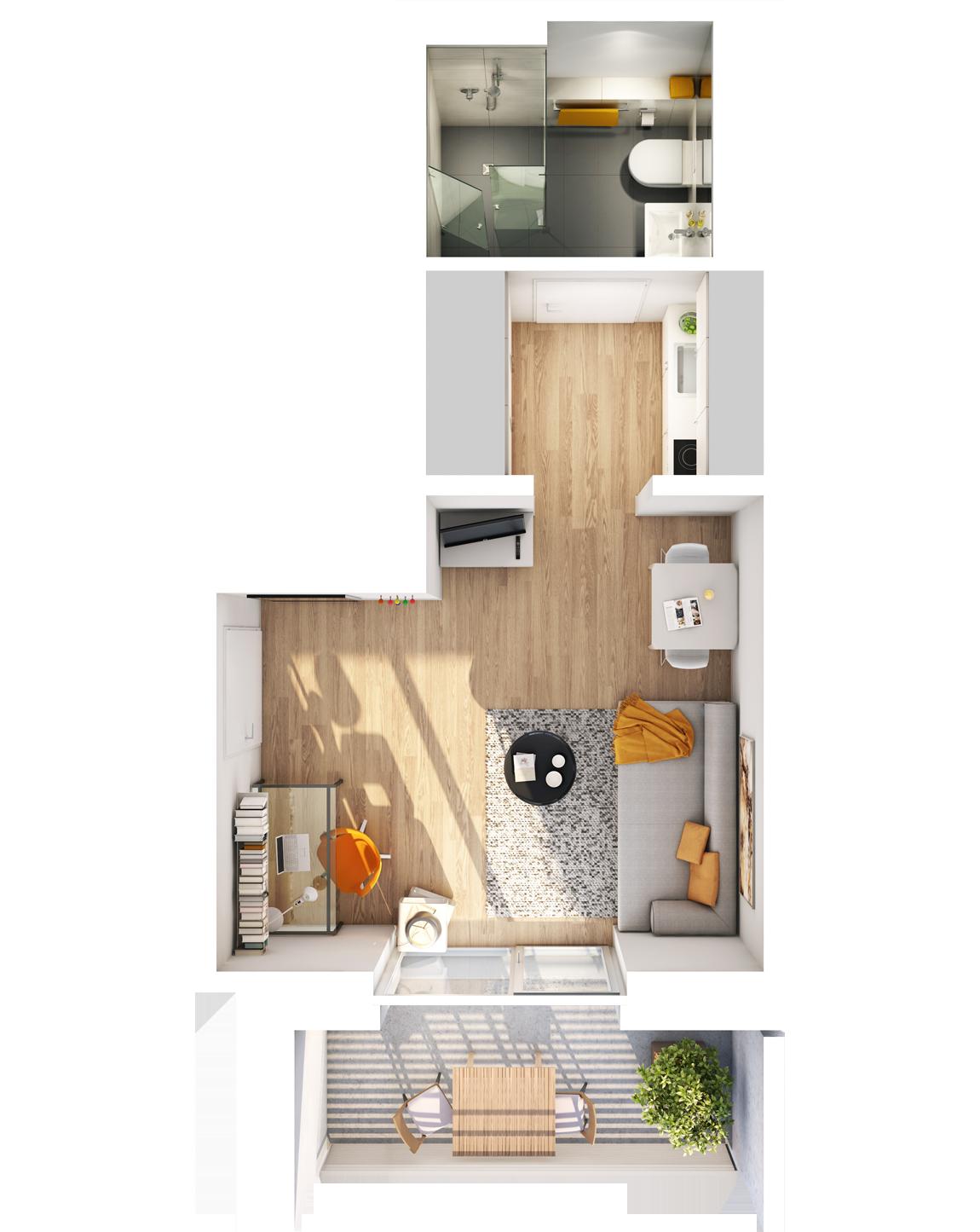 Visualisierung Beispiel 1-Zimmer-Wohnung Typ C mit Bad, Küchenzeile, Wohnbereich und Balkon im studiosus 5 Apartmenthaus in Augsburg