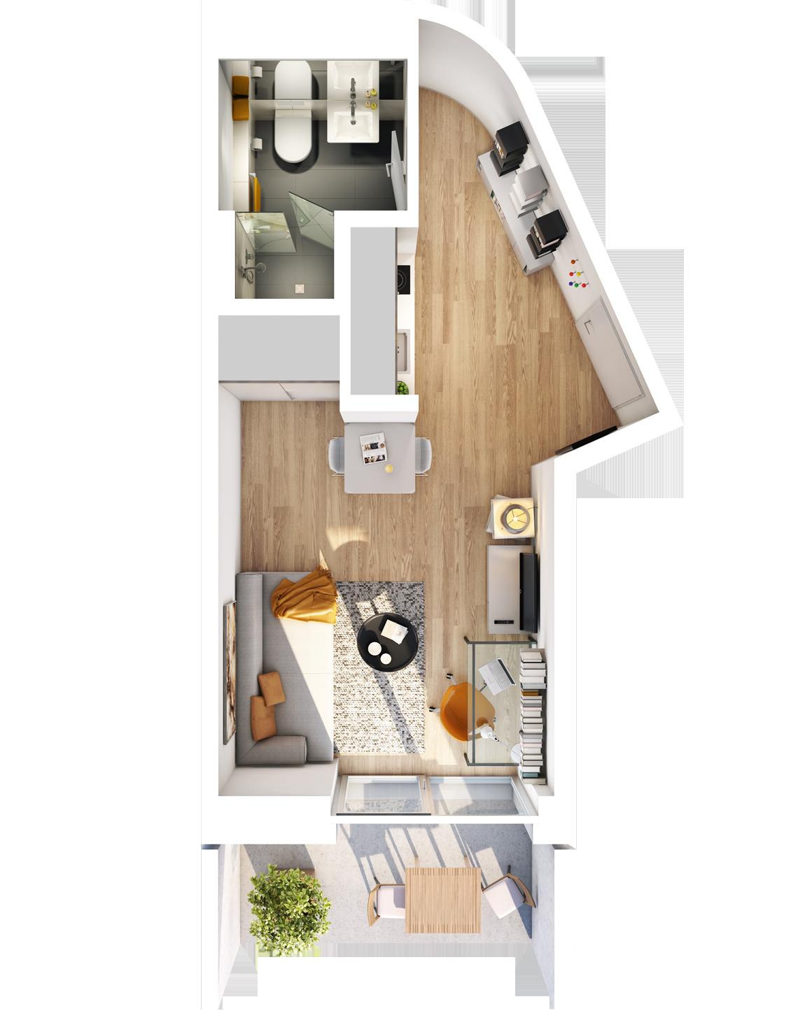 Visualisierung Beispiel 1-Zimmer-Wohnung Typ D im außergewöhnlichen Schnitt mit Bad, separater Küche, Wohnbereich und Balkon im studiosus 5 Apartmenthaus in Augsburg