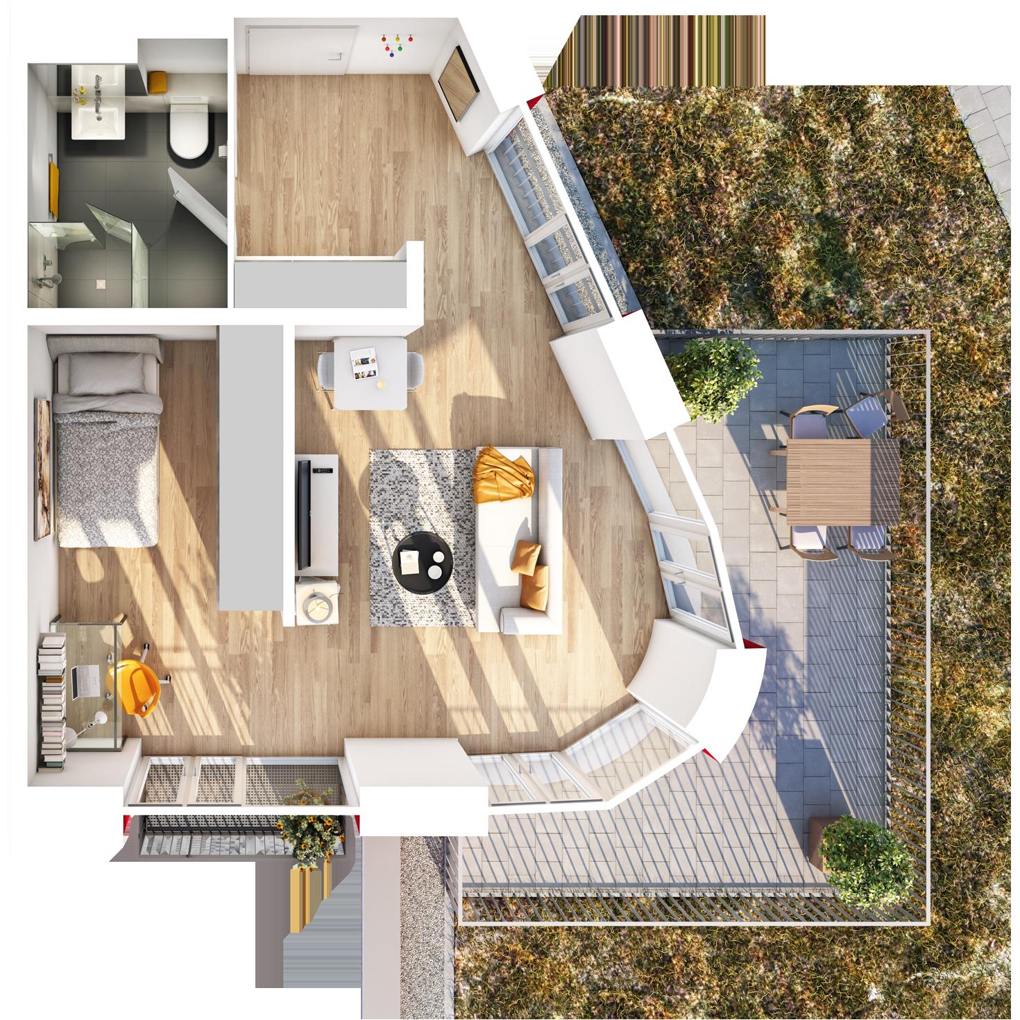 Visualisierung Beispiel 1,5-Zimmer-Wohnung Typ E mit Bad, abgetrennter Küche, geteiltem großen Wohn- und Schlafbereich und Terrasse im studiosus 5 Apartmenthaus in Augsburg