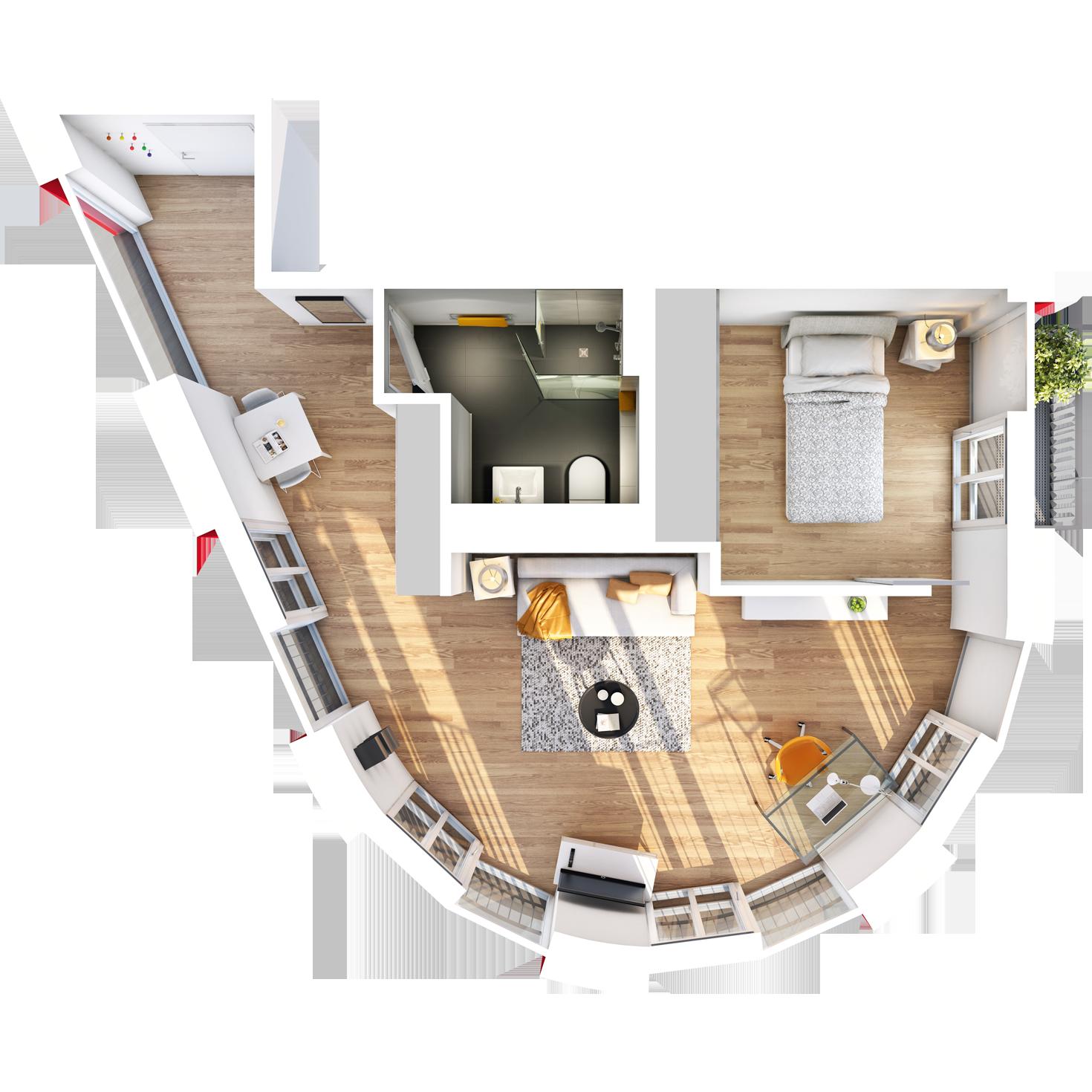 Visualisierung Beispiel 1,5-Zimmer-Wohnung Typ F mit exklusivem, halbrunden Wohnschnitt mit Bad, abgetrennter Küche, großem Wohn- und separatem Schlafbereich und Balkon im studiosus 5 Apartmenthaus in Augsburg