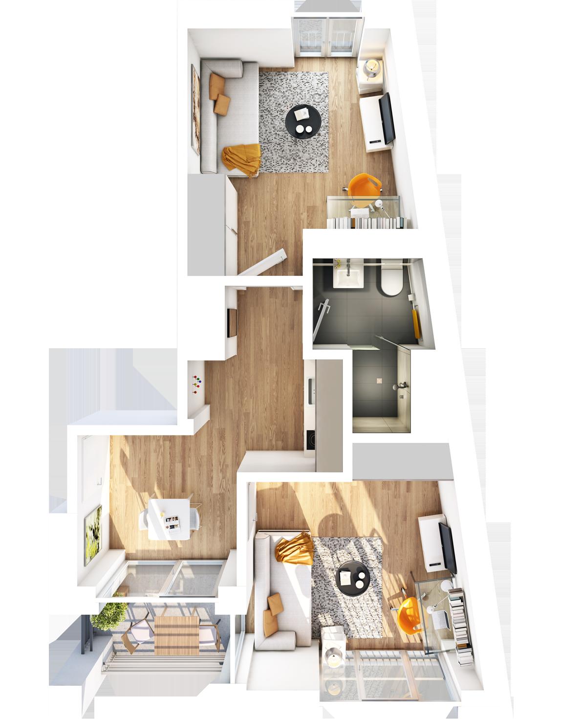 Visualisierung Beispiel 2-Zimmer-Wohnung Typ H mit Bad, separater Küche, zwei Wohnzimmern und Balkon im studiosus 5 Apartmenthaus in Augsburg