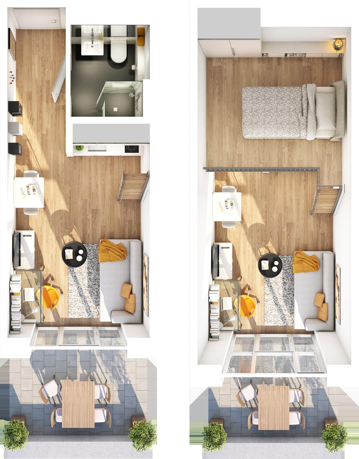 Galerie apartment studio i 1 5 zimmer studiosus 5 for Mini wohncontainer