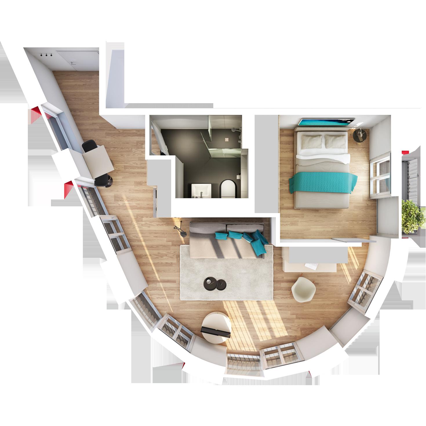 Visualisierung Beispiel 1,5-Zimmer-Boarding-Apartment Typ J mit exklusivem, halbrunden Wohnschnitt mit Bad, abgetrennter Küche, großem Wohn- und separatem Schlafbereich und Balkon im studiosus 5 Apartmenthaus in Augsburg
