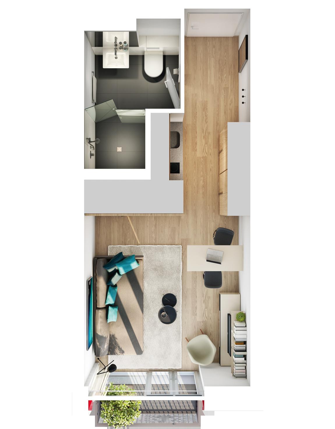 Visualisierung Beispiel 1-Zimmer-Wohnung Typ K mit Bad, Küchenzeile, Wohnbereich und Balkon im studiosus 5 Apartmenthaus in Augsburg