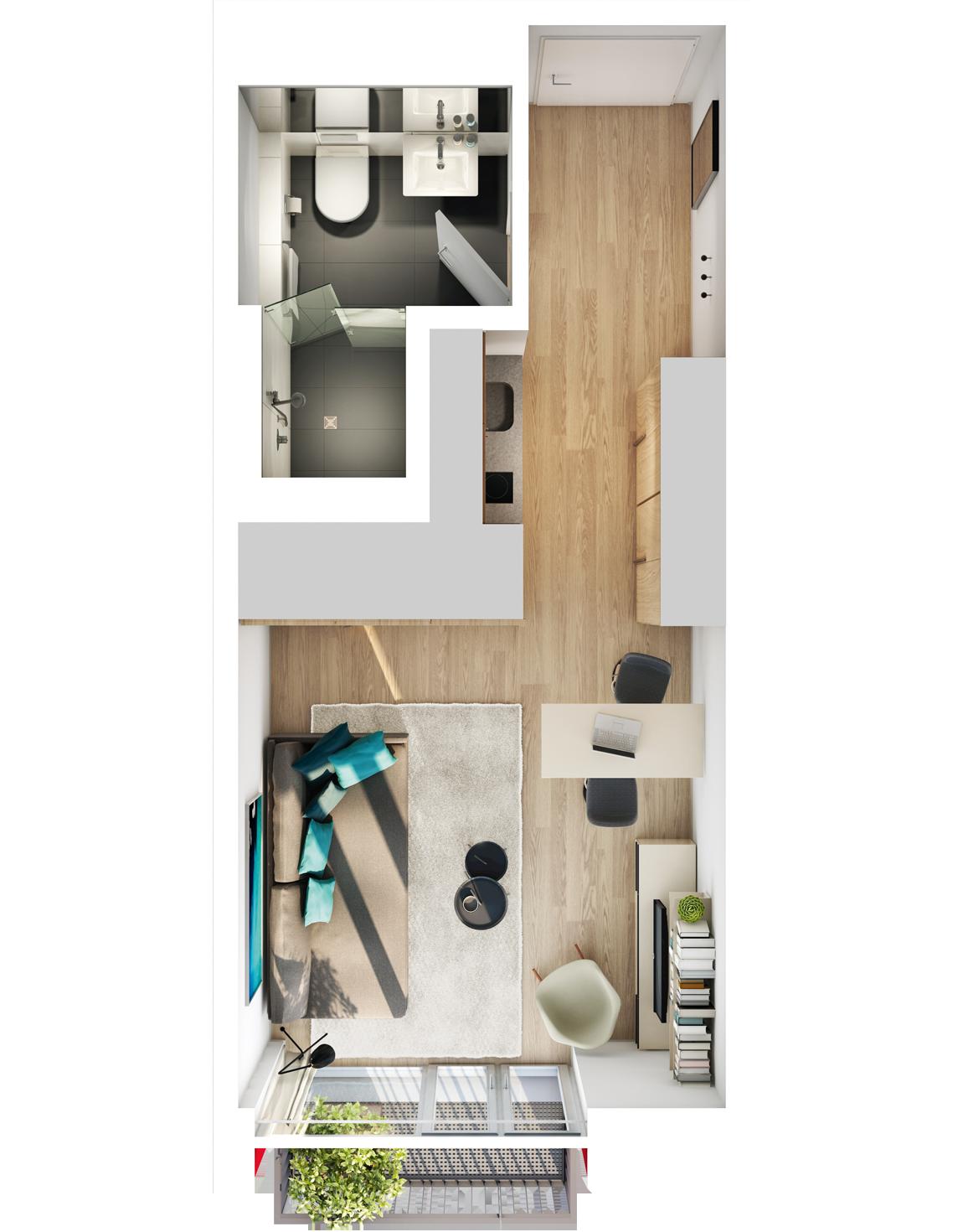 Visualisierung Beispiel 1-Zimmer-Wohnung Typ K mit Badvariante, Küchenzeile, Wohnbereich und Balkon im studiosus 5 Apartmenthaus in Augsbur