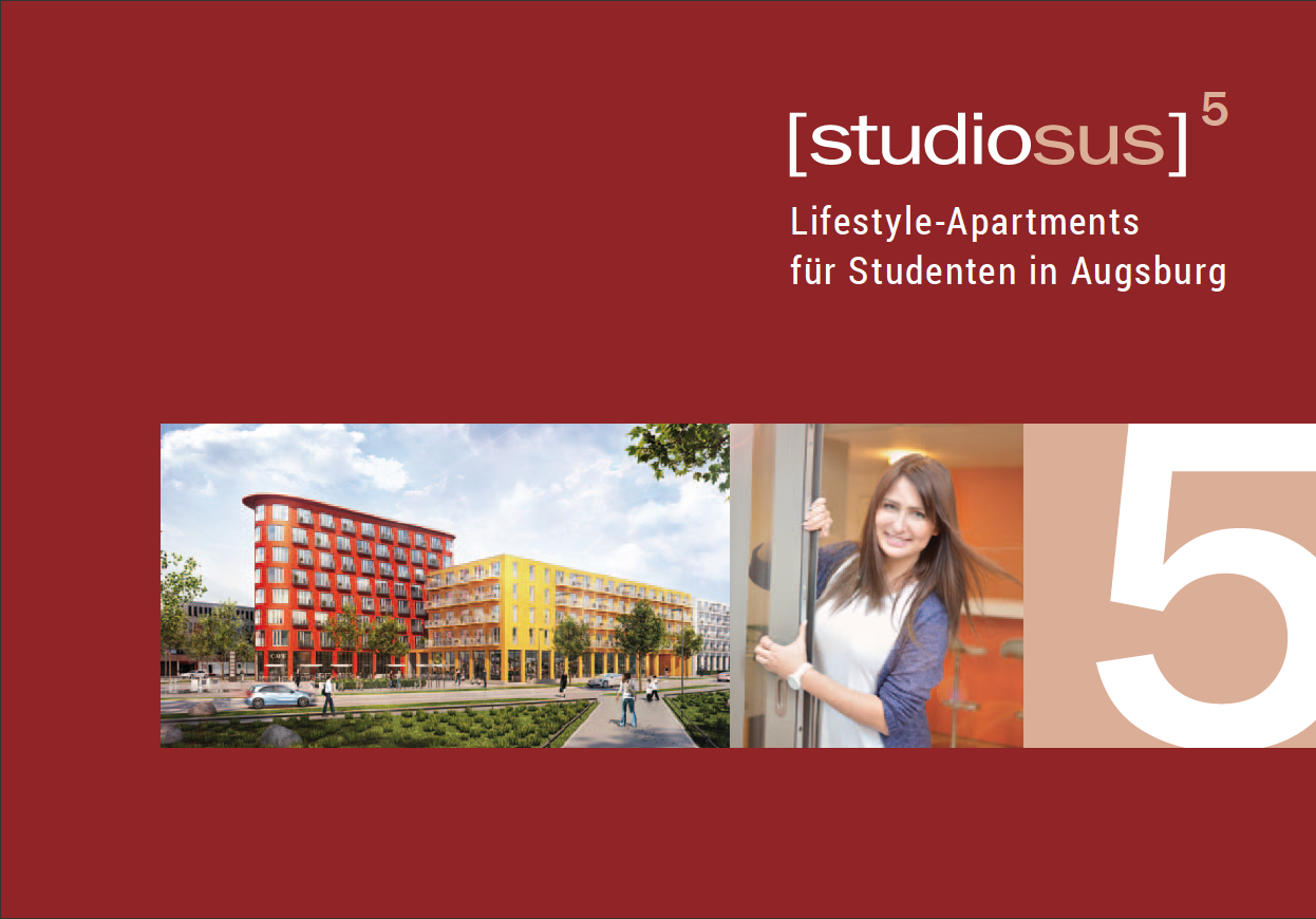 Titelseite der Broschüre des Neubauprojekts studiosus 5 mit Lifestyle-Apartments für Studenten in Augsburg